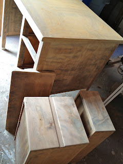 vintage desk stripped to bare wood