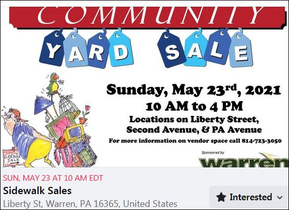 5-23 Warren Community Yard Sales