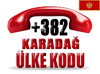 +382 Karadağ ülke telefon kodu