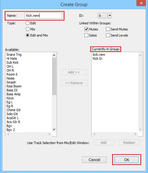 Pro Tools Create Group Window