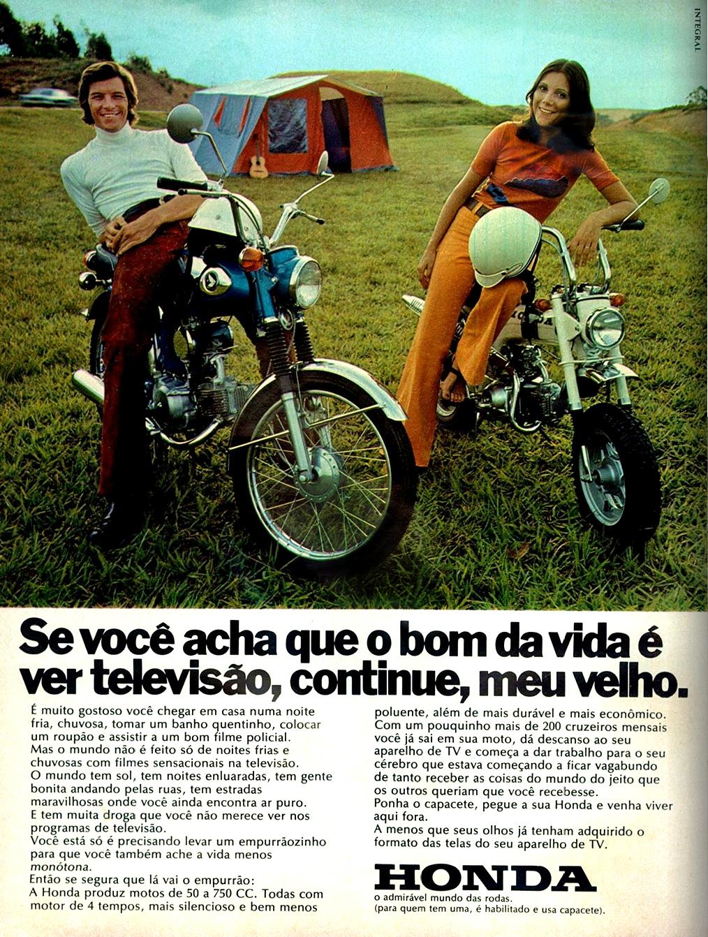Propaganda da Honda veiculada em 1973 promovendo sua linha de motos