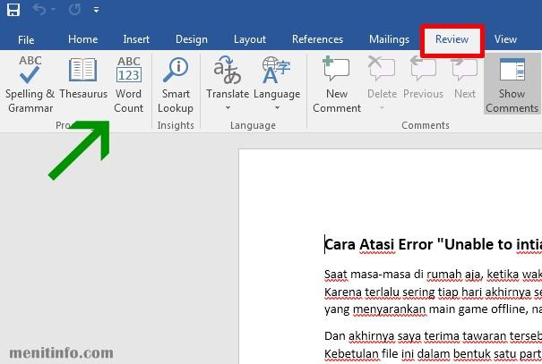 Menghitung Jumlah Kata di Microsoft Word
