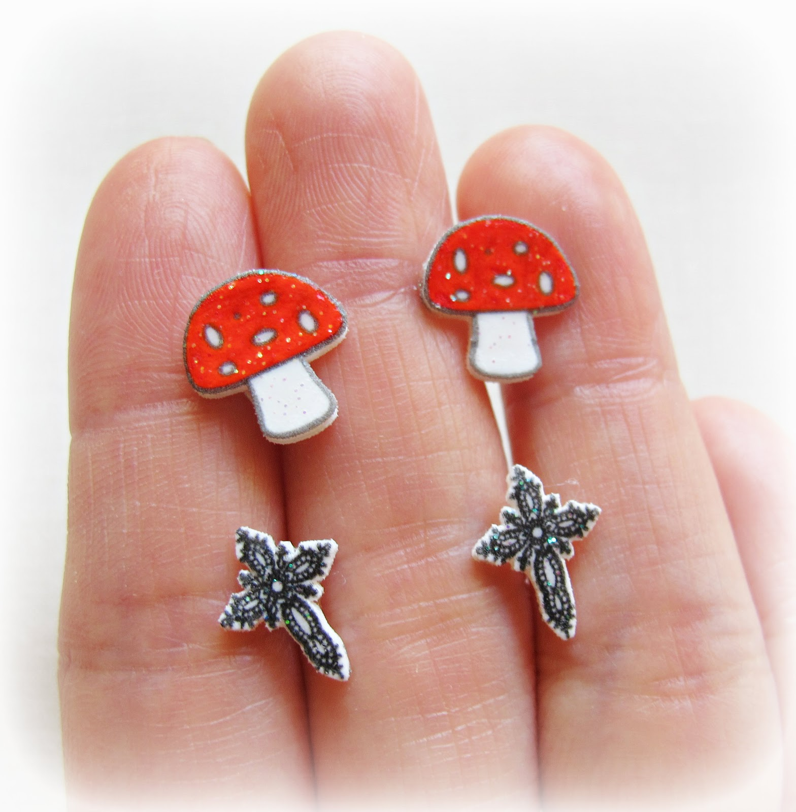 image shrink plastic earrings red toadstool mushroom fly agaric filigree cross black