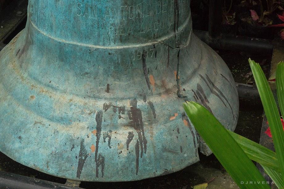 A church bell cast in 1987 with inscription San Antonio de Pila
