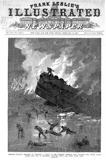 A newspaper illustration of a train car half-submerged in under ice, with fire behind it and several escaping figures in front of it.