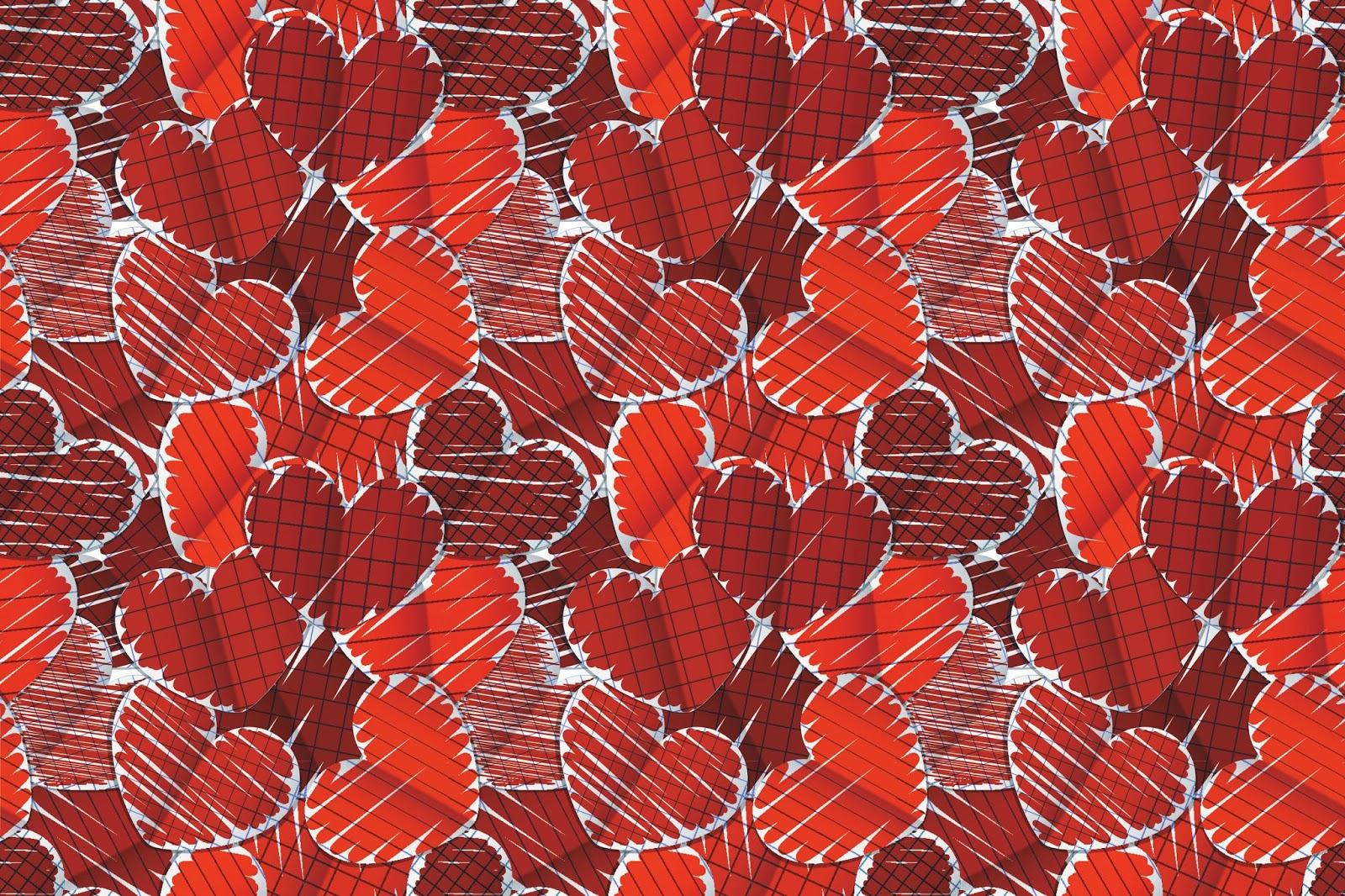 Fondos De Pantalla San Valentin Gratis: Corazones Rojos Pintados En Una Hoja
