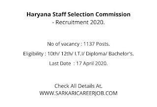 HSSC Vacancy 2020   1137 Posts HSSC latest Recruitment 2020.