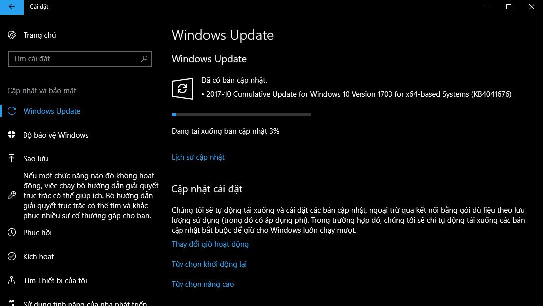Bản cập nhật quan trọng tháng 10 KB4041676 cho Windows 10 ver 1703 trước khi nâng cấp lên Windows 10 Fall Creators Update vào tuần sau