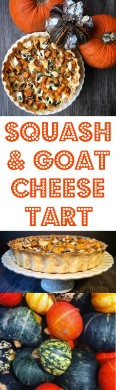 www.foodiequine.co.uk Vegetarian Tart with Autumnal Pumpkin or Squash with Goats Cheese, Herbs and Pumpkin Seeds. Perfect for Halloween and Fall.