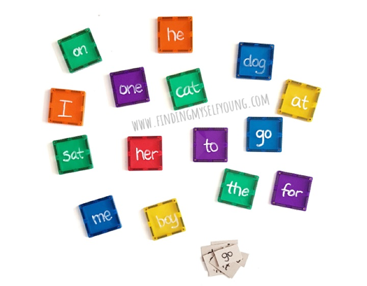 sight words written on magnetic tiles