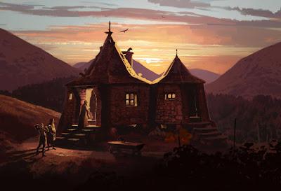 """Illustrazione della casetta di Hagrid per il film """"Harry Potter e il Prigioniero di Azkaban"""""""