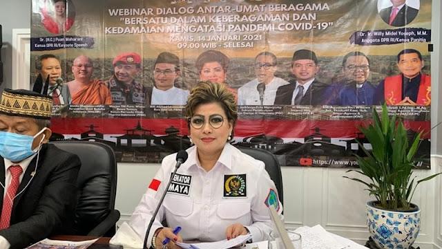 Senator Maya Rumantir Bawa Pesan Ini di Webinar Dialog Antar Umat Beragama