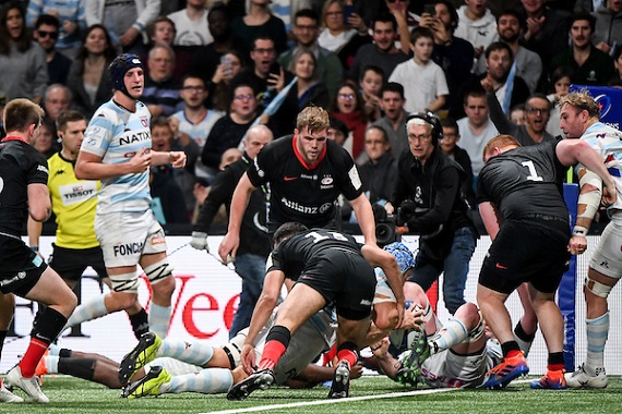 Wenceslas LAURET of Racing 92 scores a try during the European Rugby Champions Cup, Pool 4 match between Racing 92 and Saracens on November 17, 2019