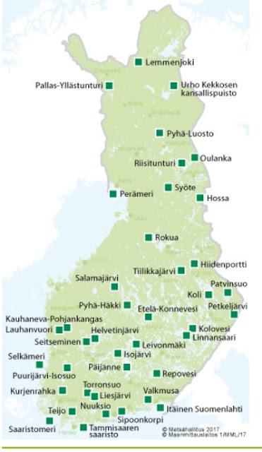 Suomen kanssalispuistojen sijainti