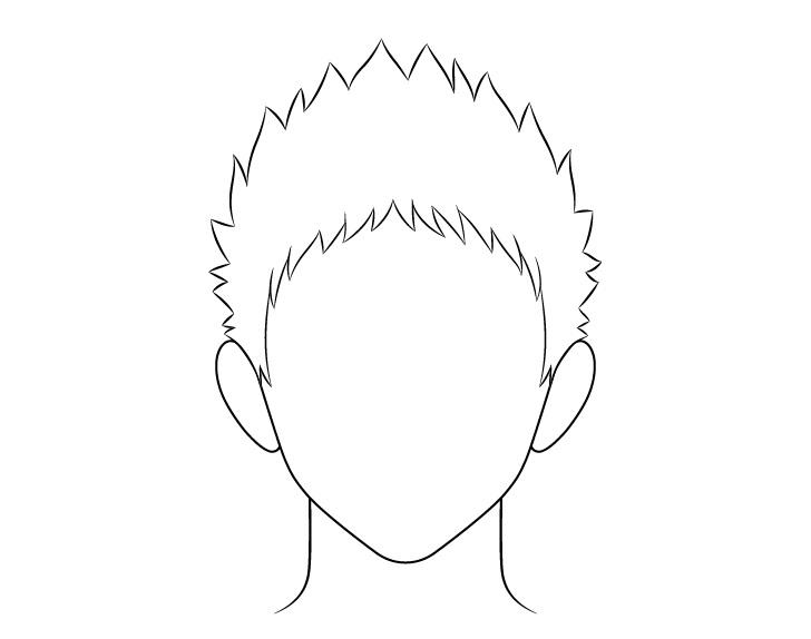 Anime gambar garis rambut pria runcing
