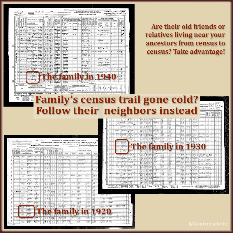 How can you find your family when their name is always mangled in the census? Search for the neighbors that were nearby decade after decade.