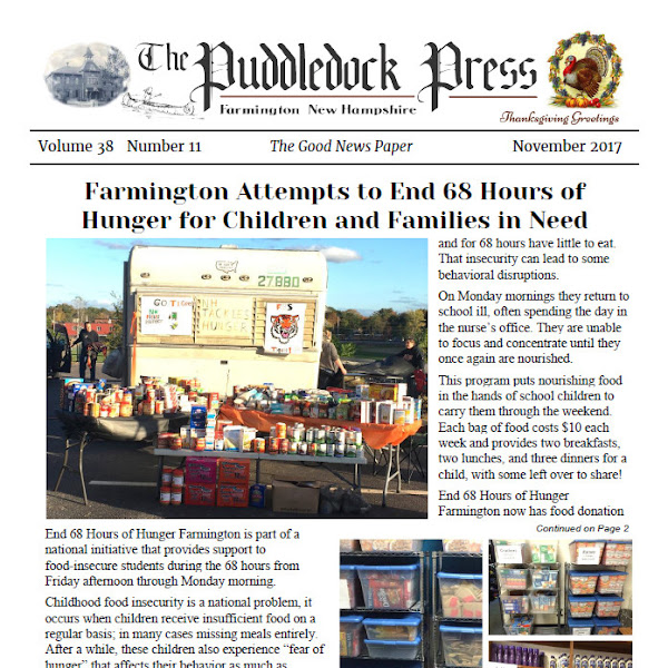 The November Edition of the Puddledock Press is Available Online an in Town