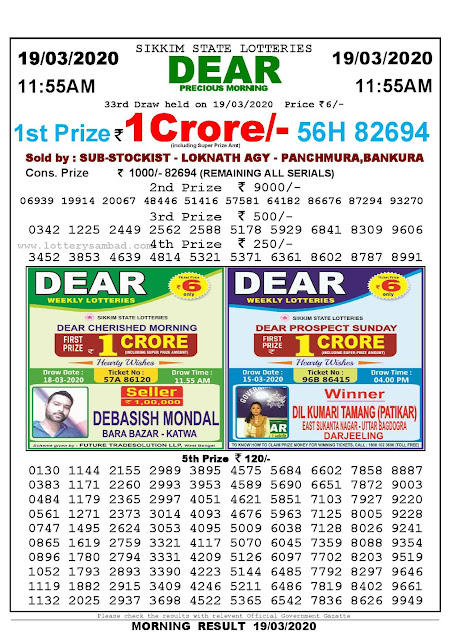 Sikkim State Lotteries 19-03-2020 Lottery Sambad Result 11:55 AM