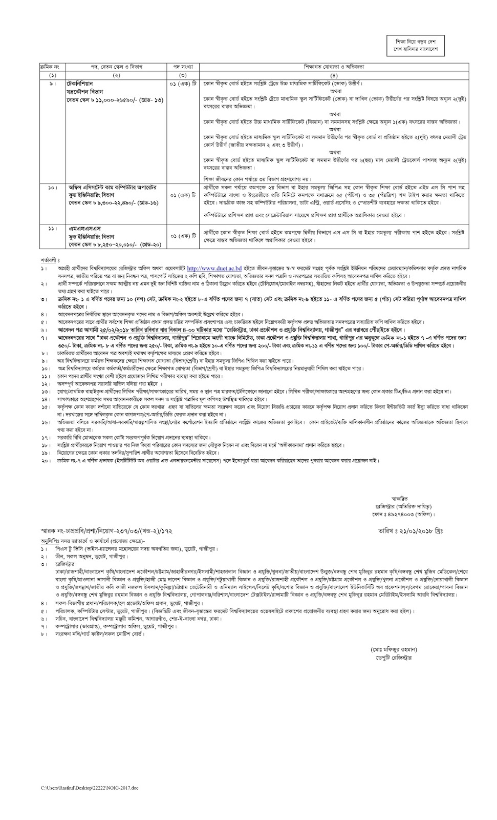 DUET  Recruitment Circular 2018