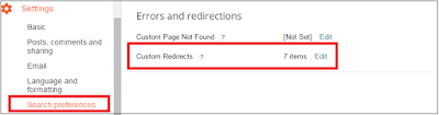 custom redirects in blogger setting