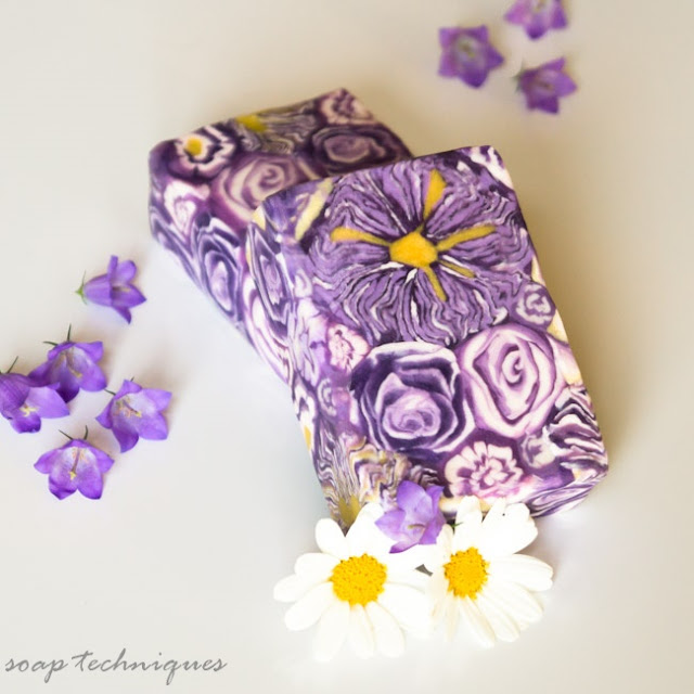 purple flowers cold-process soap - cane soap