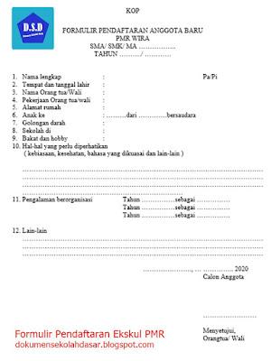 Contoh Formulir Pendaftaran Ekskul (lengkap)