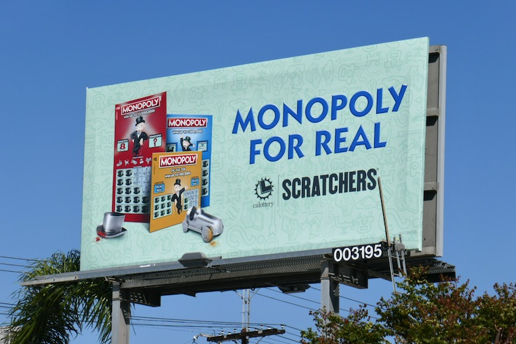 Monopoly For Real Lottery Scratchers billboard