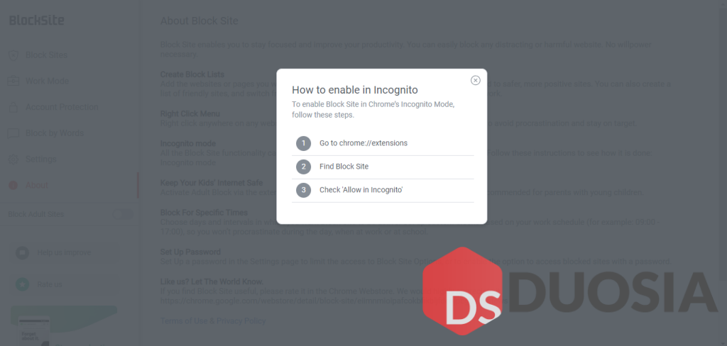Incognito Mode pada Block Site Extensions