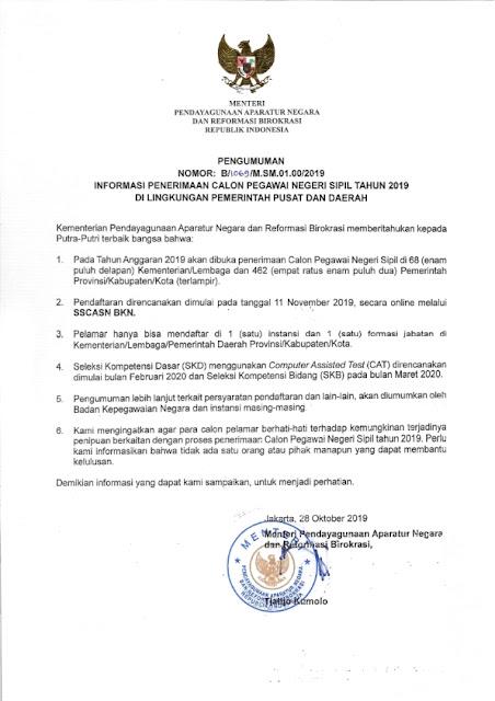 Informasi CPNS Pemerintah Pusa dan Daerah Tahun 2019