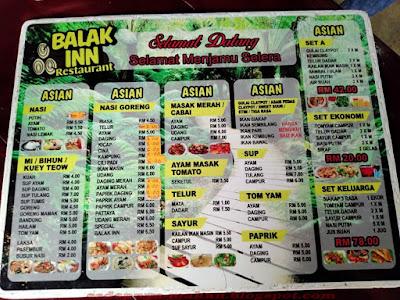 Senarai menu Balak Inn