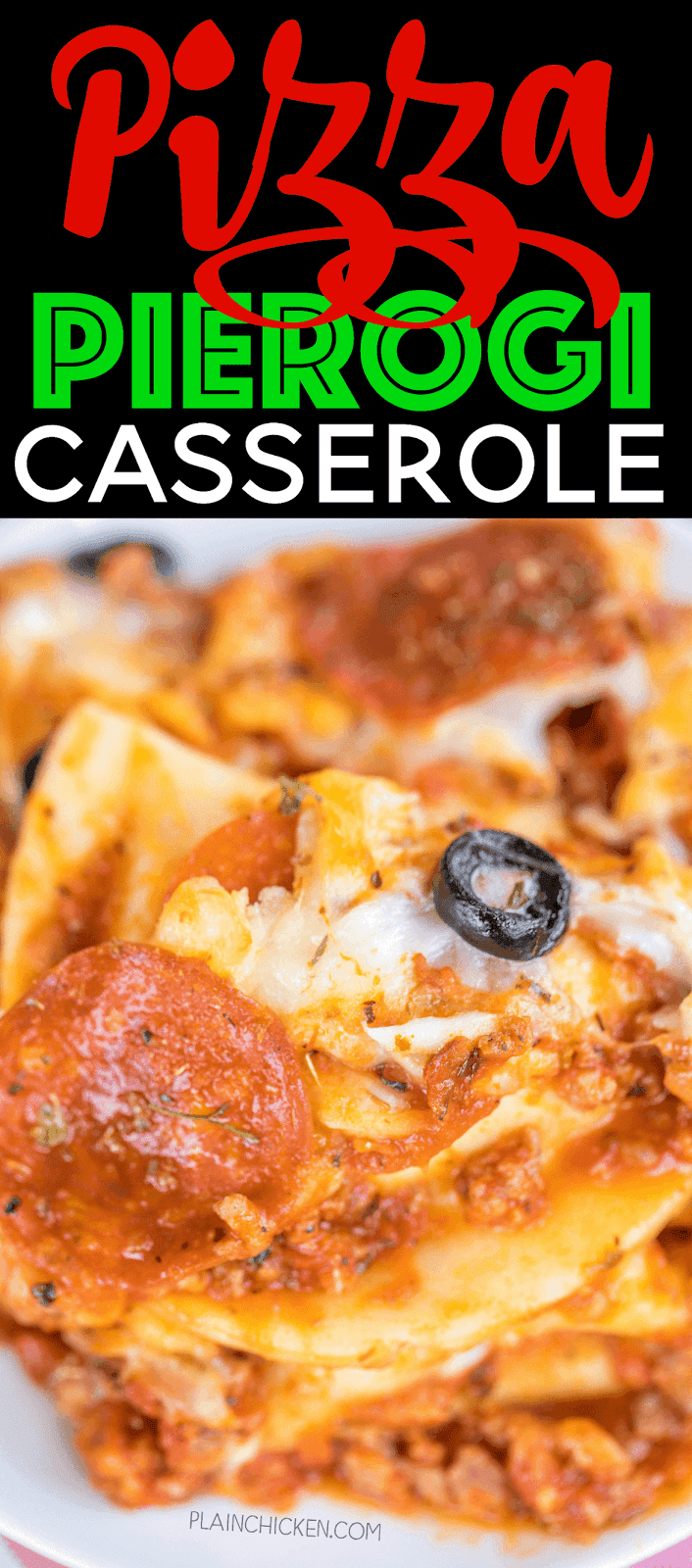 Pizza Pierogi Casserole - family friendly weeknight dinner!! Super easy to make and tastes AMAZING!! Can make ahead and freeze for later. Top casserole with your favorite pizza toppings - get creative! Frozen pierogis, italian sausage, spaghetti sauce, pepperoni, mozzarella cheese. Everyone cleaned their plate and went back for seconds! Weeknight dinner SUCCESS!!!