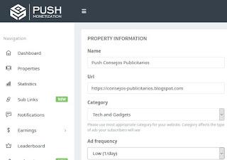 Ganar dinero notificaciones web - PushMonetization