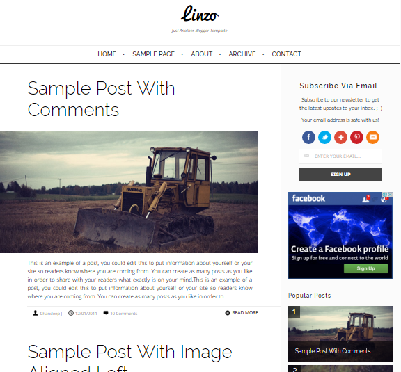 Linzo Minimal Fast Responsive Blogger Template
