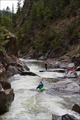 Sasha Stauffer, paddling through Landslide on Cascade Creek aka 3rd Gorge Lime, Chris Baer, Animas, CO, Colorado