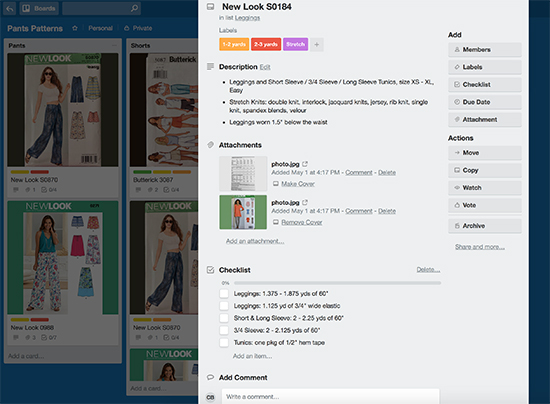 Trello Card for New Look S0184 Sewing Pattern