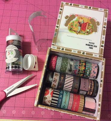 washit tape organizing, washi tape storage, cigar box, stefanie girard