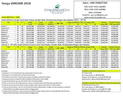 Harga DAHLIA Citra Indah City Januari 2018