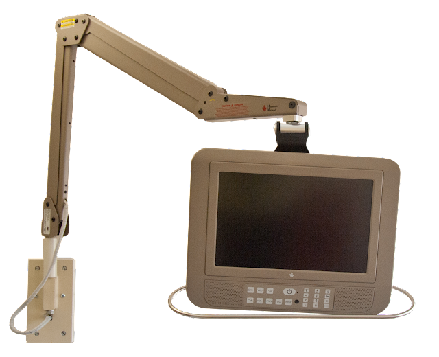 A hospital TV monitor with swivel arm and wall mount.