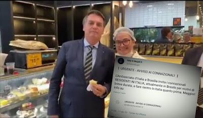 Bolsonaro na padaria e Tuíte embaixada da Itália