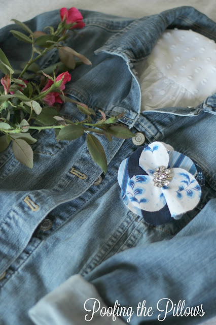 three no sew and barely sew projects using Sweet Tea Fabric line, fabric flower, denim jacket, fabric flower on denim jacket, monogram, bookmark, Hoffman fabrics, sweet tea, Thistlewood Farms