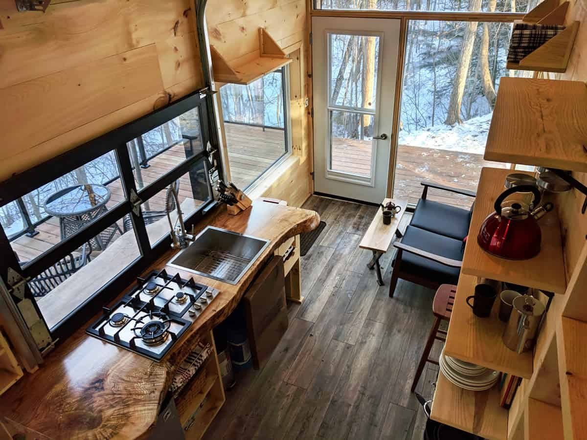 05-Kitchen-from-Above-Cabinscape-Off-Grid-Cabin-Tiny-Home-Architecture-www-designstack-co