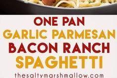 ONE PAN GARLIC PARMESAN BACON RANCH SPAGHETTI