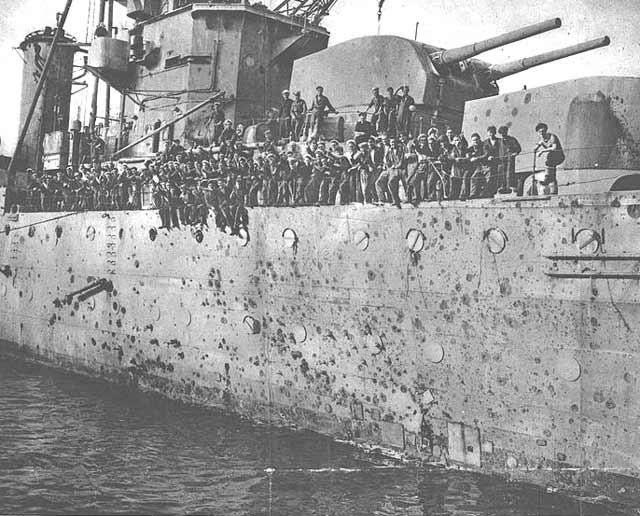 HMS Penelope, showing battle damage of 8 April 1942 worldwartwo.filminspector.com