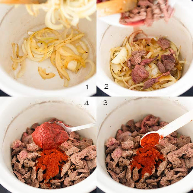 Assembling beef stroganoff in a slow cooker image