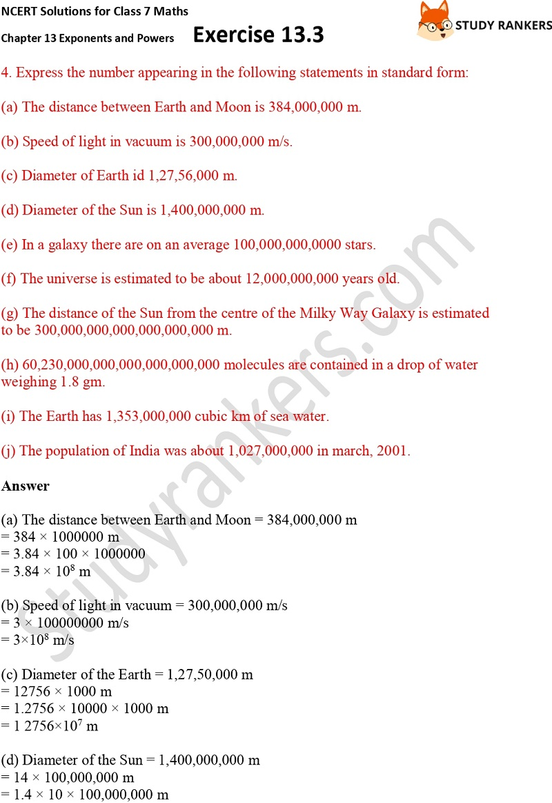NCERT Solutions for Class 7 Maths Ch 13 Exponents and Powers Exercise 13.3 Part 3