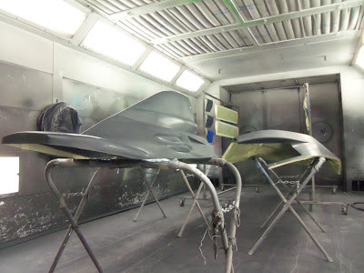 Lloyd Read's carbon fiber formula car shell is painted at Almost Everything Autobody