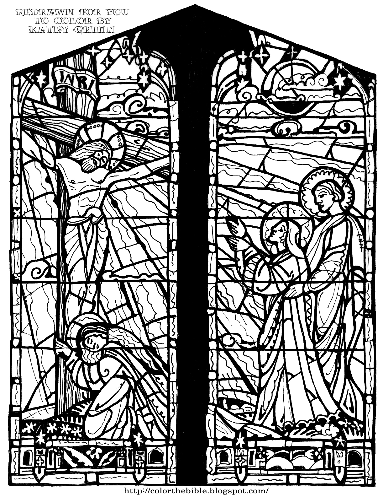 """christion stain glass coloring pages 