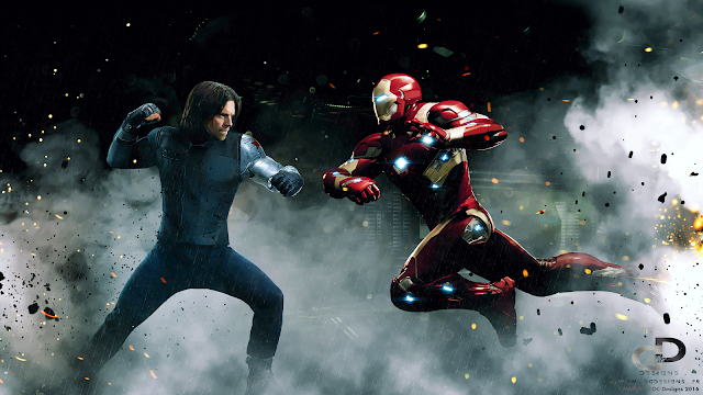 Bucky Barnes, Tony Stark, The Winter Soldier, Iron Man, Captain America Civil War, Marvel, Digital Paint, Digital Art, Fan Art, Artwork, DC Designs