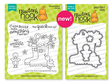 Newton's Rain Boots Stamp Set and Coordinating Die Set by Newton's Nook Designs #newtonsnook #handmade