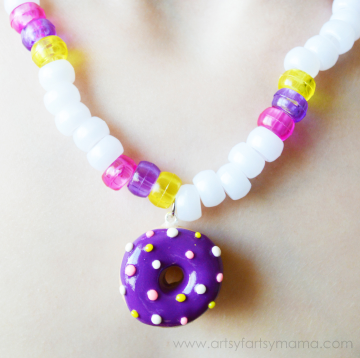 Kids Polymer Clay Donut Necklace at artsyfartsymama.com